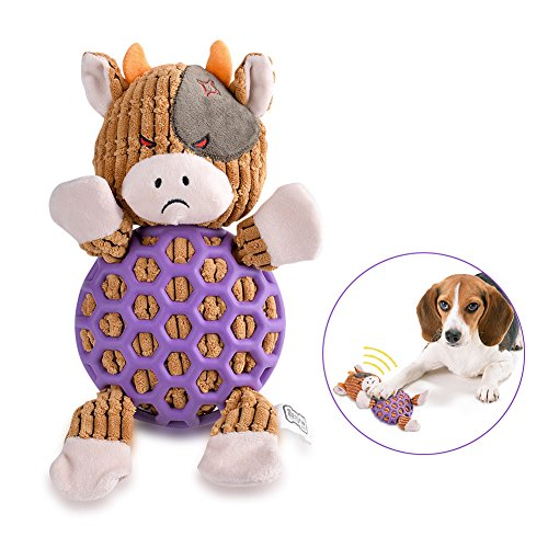 Petacc Pet Squeaky Toys Bite Resistant Toy Tooth Cleaning Toy Dog Toys Adorable Animal Collection, Cow Pattern