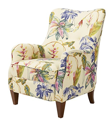 Jennifer Taylor Home Paradise Collection Modern Floral Print Cotton Blend Upholstered  Accent Arm Chair With Wooden