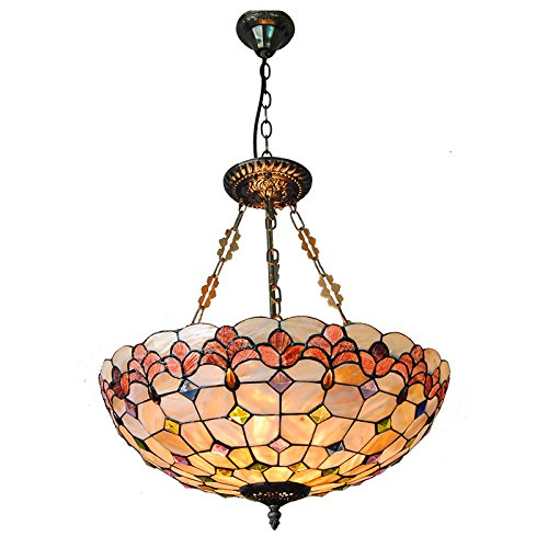 Cheerhuzz Modern Tiffany Style 5 Lights Inverted Pendant Lamp Vintage Baroque Stained Glass Suspension Light Fixture For Dining Room PL762