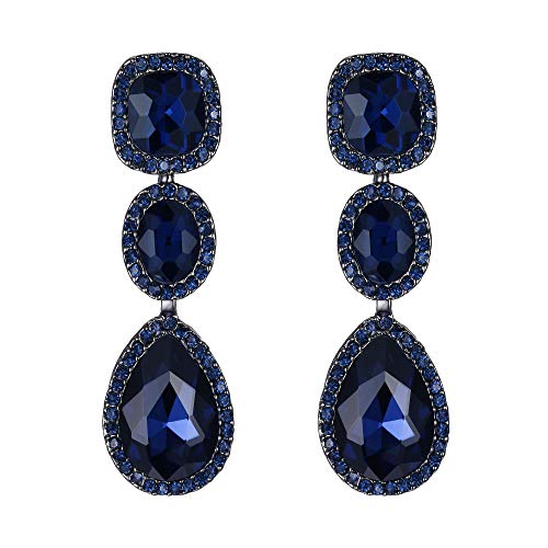 EVER FAITH Elegant Bridal Square Oval-cut Shape Crystal Teardrop Dangle Earrings Blue Black-Tone