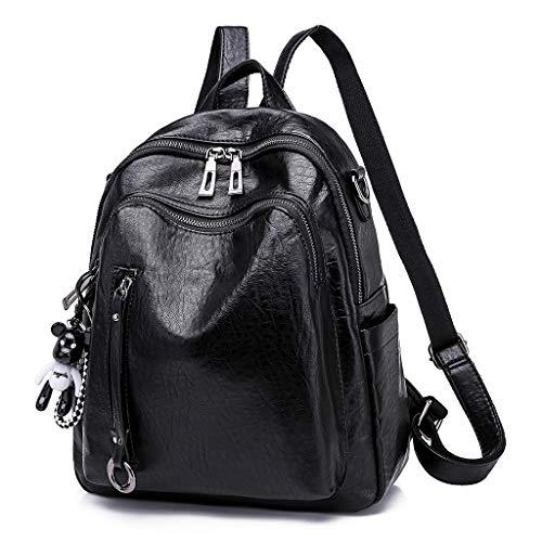 Ludzzi metallo a a donna con borse con borsa nero borsa ciondolo pelle Zaino cerniera tracolla in spalla orso YeE29IWDH