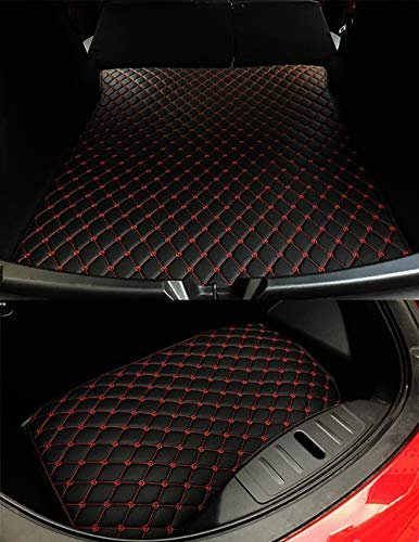 (Car Front and Rear Trunk Mat Cargo Liner Protective Pads Compatible Model 3 (Red, for Tesla Model 3))
