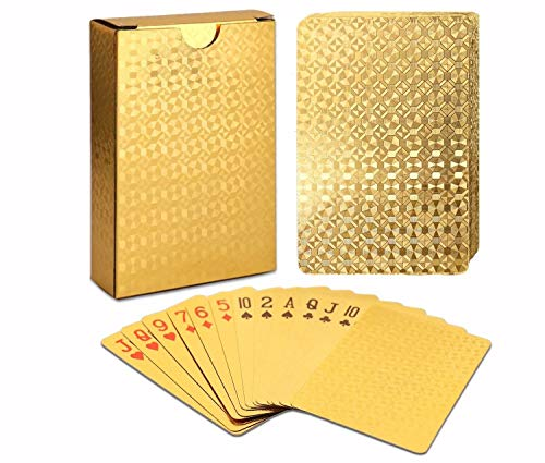 ALI LI Playing Cards Luxury Waterproof 24K Gold Diamond Foil Poker Carta ()