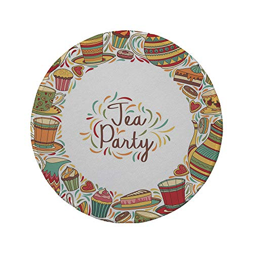 Non-Slip Rubber Round Mouse Pad,Tea Party,Cartoon Drawing Style Kitchenware and Tea Party Items Cups Pots Colorful Design Decorative,Multicolor,7.87
