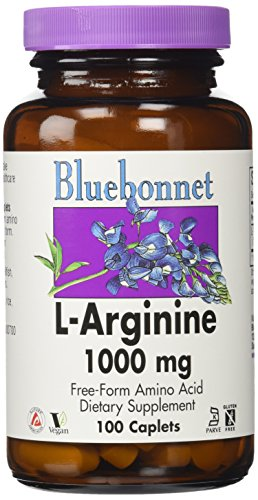 Bluebonnet L-Arginine 1000 mg Capsules de vitamines, comte 100