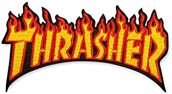 Thrasher Skateboard Magazine Patch Flame Logo Yellow 2