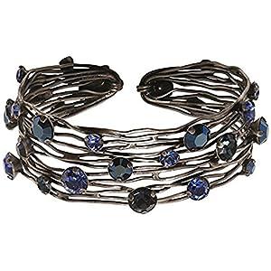Konplott Cages Antique Silvertone Blue Mix Swarovski Crystal Cuff Bangle Bracelet 8″