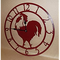 Rooster Wall Clock. Solid Steel. 15 Inch Wide. Quartz Movement. Cherry Red Texture, Handmade in USA