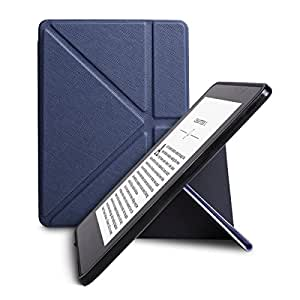 WALNEW New Origami Case Cover for Amazon Kindle Voyage (November 2014) - Full Device Protection with PU Leather and Smart Auto Sleep Wake function, Navy Blue