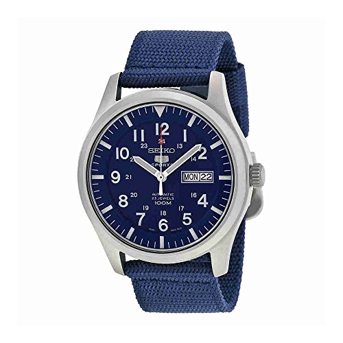 Seiko-5-Sport-Automatic-Navy-Blue-Canvas-Mens-Watch-SNZG11