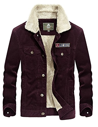 Lined Red Jacket - Yeokou Men's Vintage Slim Sherpa Lined Shearling Corduroy Trucker Jacket