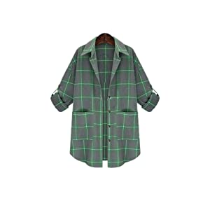 Womens Casual Lapel Roll up Sleeve Loose Plaid Print Trench Coat Jacket Outwear Green 3XL