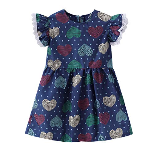 WOCACHI Toddler Baby Girls Dresses, Baby Kids Girls Lace Fruit Print Skirt Princess Dresses Casual Clothes Back to School Easter Egg Costume Parade Bunny Lily Eggs Roll Basket Mother's -