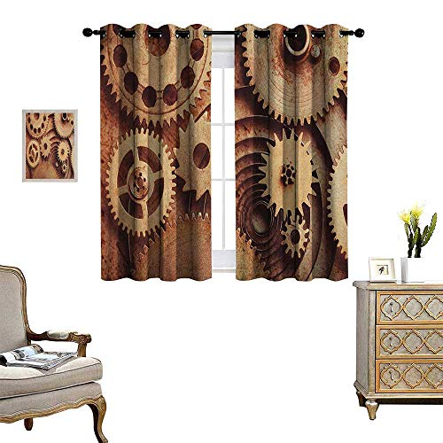 Warm Family Industrial Thermal Insulating Blackout Curtain Inside The Clocks Theme Gears Mechanical Copper Device in Steampunk Style Print Patterned Drape for Glass Door W63 x L72 Cinnamon