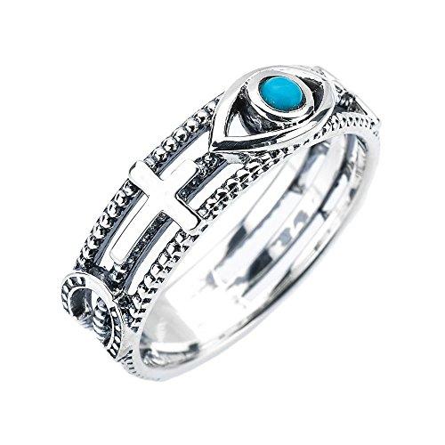 Sterling Silver Milgrain Sideways Cross Blue Evil Eye Good Luck Ring(Size 7.5)
