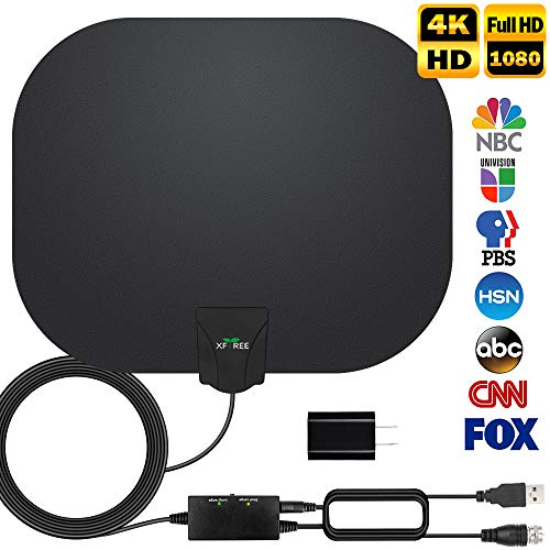 HDTV Antenna, 2019 Newest Indoor Digital TV Antenna 130 +Miles Range with Amplifier Signal Booster 4K HD VHF UHF Freeview Local Channels Support All Television -17ft Coax - Tv Antenna Smart For