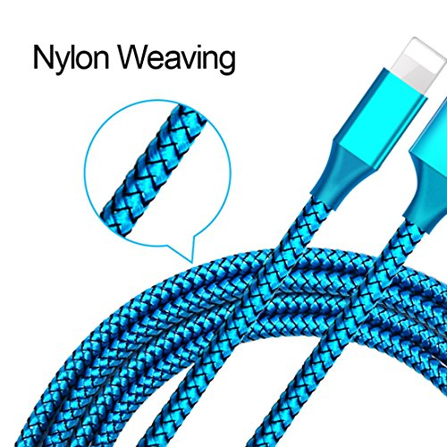 HKYUSHINE Phone Cable 3Pack 3FT 6FT 10FT Nylon Braided Cord Compatible with Phone XS MAX XR X 8 7 Purple Blue Green
