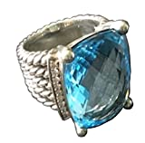 Gempara Designer Inspired Twisted Cable 20x16mm Blue Topaz Checkerboard Cushion Ring