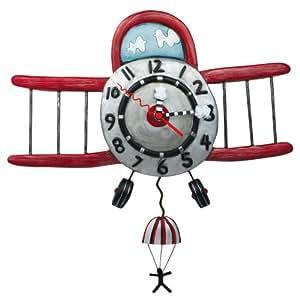 Enesco Allen Designs - Reloj de pared, diseño de avión y paracaidista