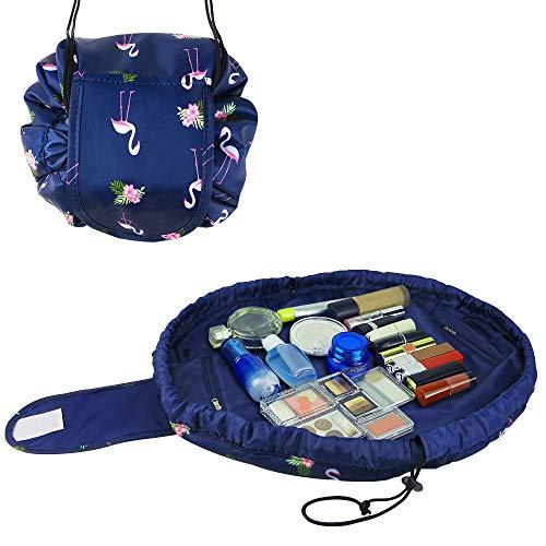 Lazy Drawstring Makeup Bag Quick Drawstring Cosmetic Bag Multifunction Toiletry Bag Waterproof Makeup Bag Travel Hanging Portable Organizer Pouch for Women (Blue flamingo)