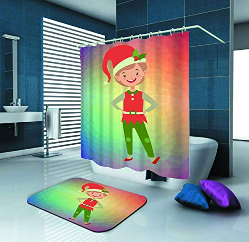 SARA NELL Shower Curtain,Cute Smiling Christmas Elf Boy Little Santa Claus,72X72In Mildew Resistant Polyester Fabric Shower Curtain Set with 15.7X23.6In Flannel Non-Slip Floor Doormat Bath Rugs ()
