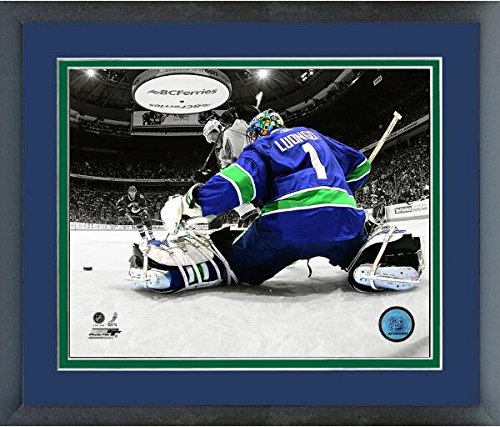 Vancouver Canucks Roberto Luongo Framed - Roberto Luongo Vancouver Canucks NHL Spotlight Action Photo (Size: 22.5