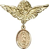 Gold Filled Baby Badge with Our Lady of Guadalupe Charm and Angel w/Wings Badge Pin 1 1/8 X 1 1/8 inches