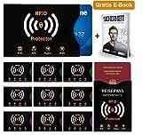 Travando ® RFID-Schutzhüllen (10+2 Set) für Bankkarten, Personalausweise, Kreditkarten, EC-Karten, Reisepass - 100% Abschirmung vor kontaktlosen RFID & NFC Scannern - Senkrechte Öffnung- GRATIS E-Book