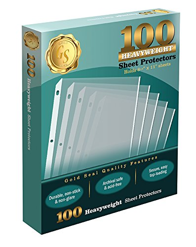 100 Clear Heavyweight Poly Sheet Protectors by Gold Seal, 8.5