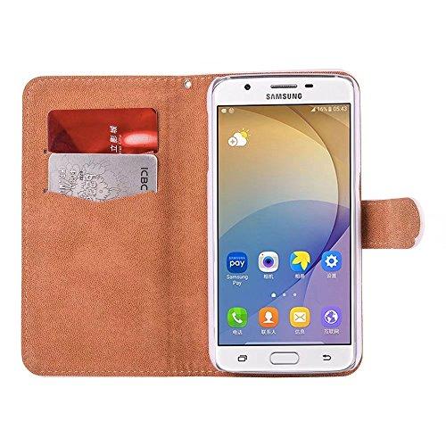 Galaxy A3 2017 A320 Carcasa,QianYang Flip Case PU Leather Cuero Cover para Samsung Galaxy A3 2017 A320 Case Cover Magnético y función de soporte Carcasa 3D Taladro Funda-3