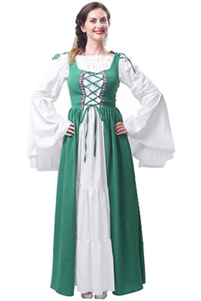 Damen mittelalterliche Gothic viktorianischen Königin Kostüm Langarm Maxi Party Prinzessin Kleid