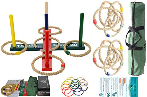 Mabua Ring Toss Games Kids Adults With 10 Quoits Carry Bag -