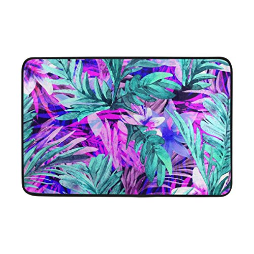 Wool Tropical Floral Area Rug - Carpet Neon Floral Tropical Leaves Print Area Rug Lightweight Doormat 23.6x15.7 inch, Memory Sponge Indoor Outdoor Decor Living Room Bedroom Office Kitchen