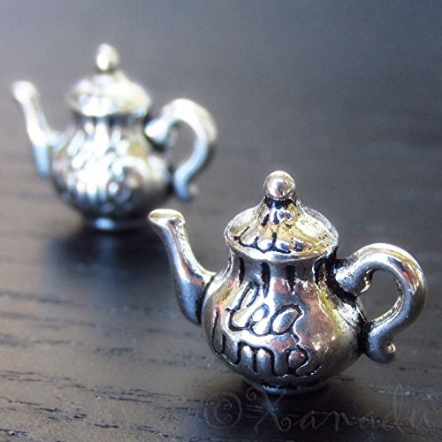 20 PCsTea Time 3D Teapot Antiqued Silver Plated Charms