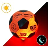 NightMatch Light Up Soccer Ball Kids Edition INCL. BALL PUMP and SPARE BATTERIES - Inside LED lights up when kicked - Glow in the Dark Soccer Ball - Youth Size 3 - Official Size & Weight -orange/black