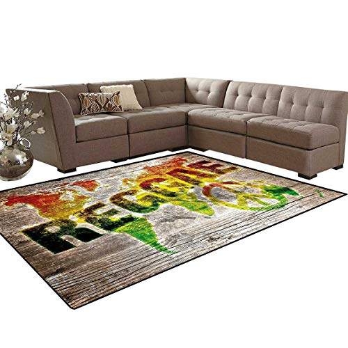 Rasta Door Mats Area Rug World Map on Plaques with Reggae Lettering and Peace Symbol Anti-Skid Area Rugs 6'x9' Light Brown Green Yellow and Orange