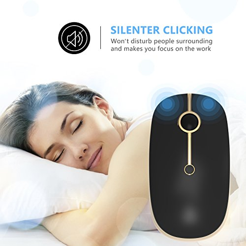 2.4GHz Wireless Bluetooth Mouse, Jelly Comb Dual Mode Slim Wireless Mouse with 2400 DPI for PC, Laptop, Mac, Android, Windows - Black and Gold by Jelly Comb (Image #4)