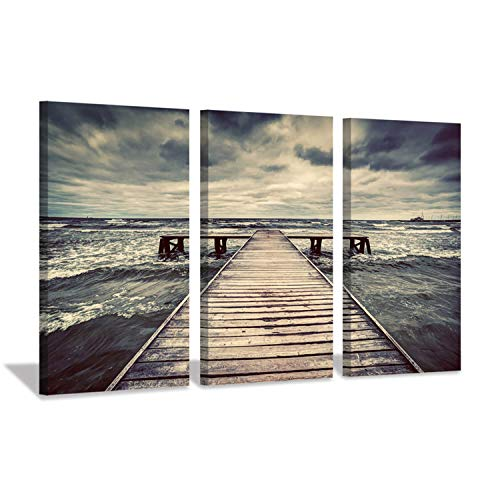 Sunset Dock - Hardy Gallery Pier Seascape Art Coastal Picture: Sunset Over Wooden Sea Dock Print on Canvas Set