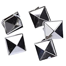 Approx. 100pcs 2 Prongs Pyramid Studs 12mm Silver
