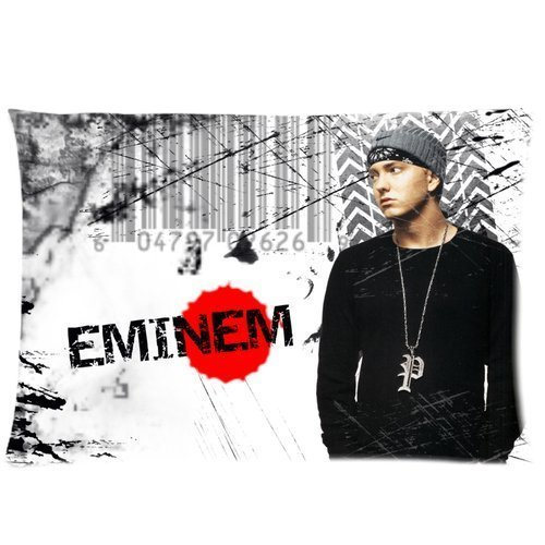 Eminem Custom Pillowcase 20x30 Rectangle Throw Pillow Cover Soft Cotton Zippered Cushion Case Two Sides Pattern Printed