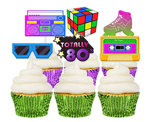 80s Cake Decorations (80s Cupcake Toppers, 12 Pack, Retro Birthday Party Decorations, Handmade in)