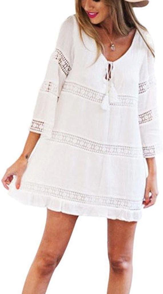 TUDUZ Elegant Damen Sommerkleid Strandkleid Rundkragen 3//4-Arm Boho Strand Kurzes Minikleid Partykleid Tunika Blusen Shirt Kleid