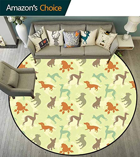 Dog Lover Round Rug Non Slip pad,French Bulldog Greyhound Poodle Terrier Silhouette Pure Breed Animals Canine Type Durable and Resistant to Soiling,Multicolor,D-67