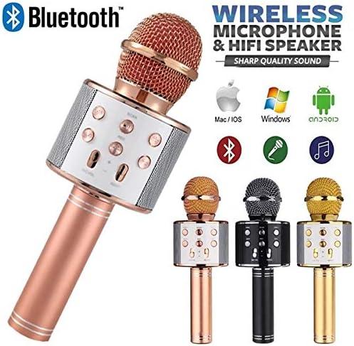 Suidone Microphone sans Fil Bluetooth Audio Microphone de karaok/é pour t/él/éphone Portable Alimentation et Accessoires