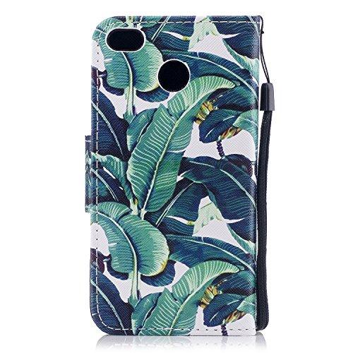 Xiaomi Redmi 4X Hülle, Chreey PU Leder Schutzhülle mit Feder Traumfänger Muster Bumper Flip Wallet Case Handyhülle Grün Blätter