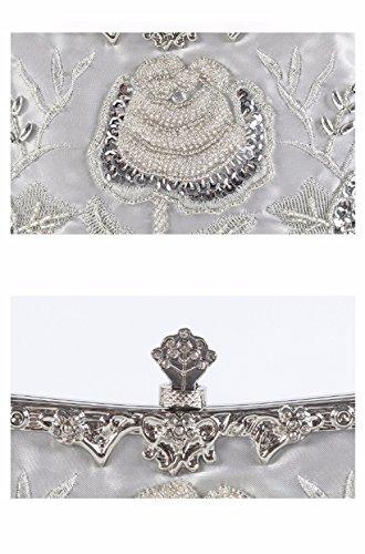 bordadas nupcial mano bolsos Black artesanalmente a cena Bolso hecho bordadas Claret bags bordadas la Bolsos elegante Ladies' XJTNLB ASqgUW