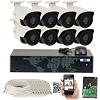 GW Security 8CH 6TB NVR 5MP H.265 Built-In Microphone Audio Recording Outdoor Indoor 8 x HD 1920P IP PoE Bullet Security Camera System