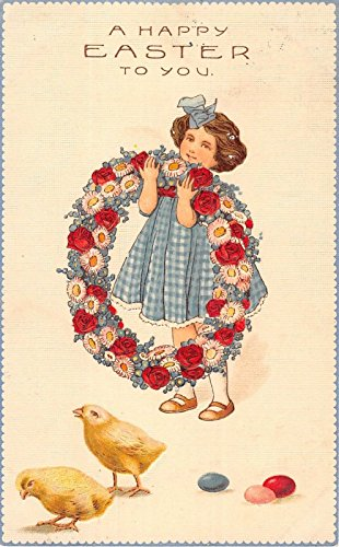 - Little Girl with Easter Wreath of Flowers Antique Postcard A1824