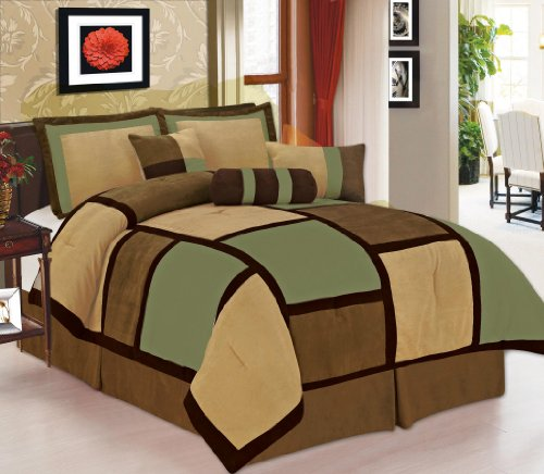 (Legacy Decor 7 Piece Sage, Brown, Beige Micro Suede Patchwork Comforter Set Machine Washable Bed-in-a-bag)