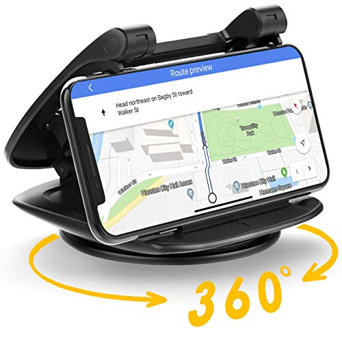 360° Rotate Adjustable Car Phone Holder for Dashboard -YAPITO Car Dashboard Phone Mount, Compatible iPhone Xs Max XR X 6s 7 8 Plus, Samsung Galaxy Note2~Note9, S3~S9+,Pixel, Sony, LG, Vehicle GPS